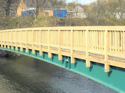 Steel and Welsh Oak footbridge, Cwmcelyn South Wales